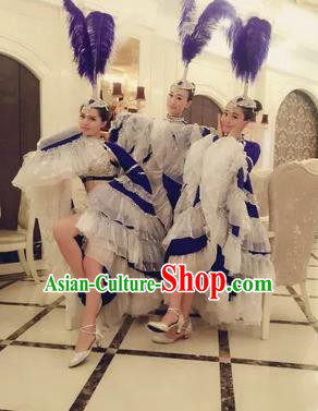 Top Grade Professional Stage Show Catwalks Halloween Dance Blue Feather Costumes and Headpiece, Brazilian Rio Carnival Samba Opening Dance Dress Custom-made Customized Big Swing Clothing for Women