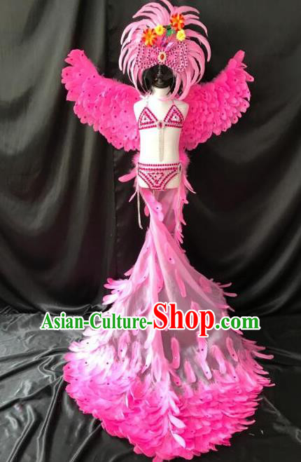 Top Grade Professional Stage Show Catwalks Halloween Wings Pink Feather Bikini Costumes and Headpiece, Brazilian Rio Carnival Samba Opening Dance Modern Fancywork Long Trailing Dress Clothing for Kids