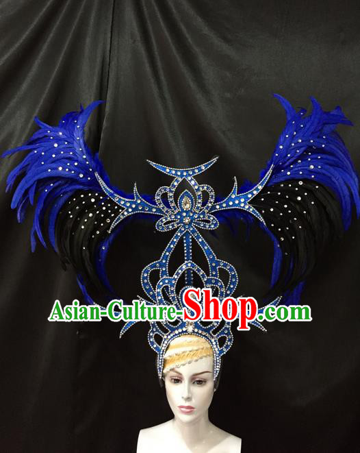 Top Grade Professional Stage Show Catwalks Brazil Parade Giant Blue Feather Headpiece, Brazilian Rio Carnival Samba Opening Dance Modern Fancywork  Big Hair Accessories Decorations for Women