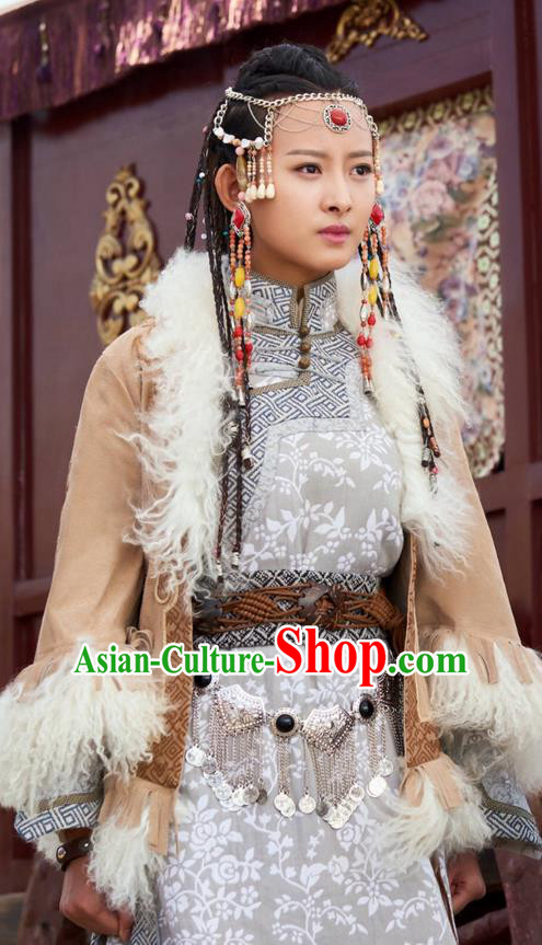 Traditional Ancient Chinese Mongol Nationality Princess Costume, The Legend of the Condor Heroes Chinese Song Dynasty Heroine Young Lady Hua zheng Dress Clothing for Women