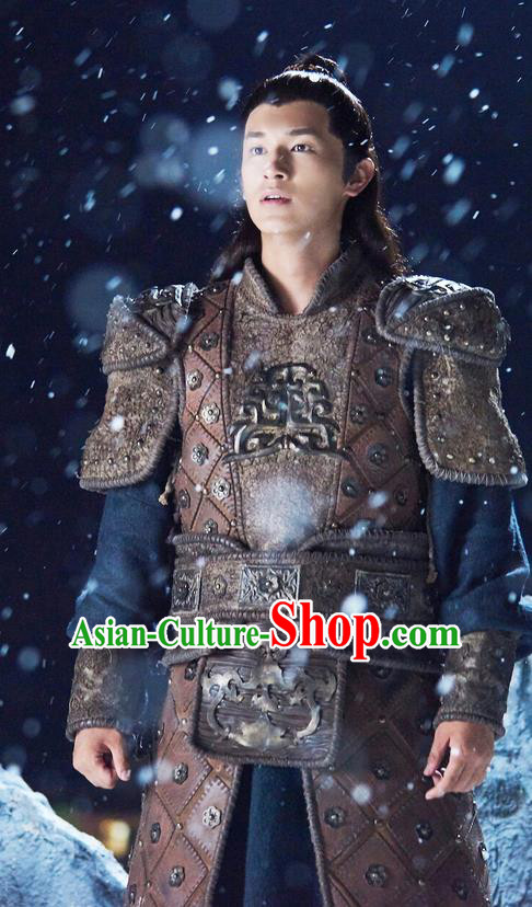 Traditional Ancient Chinese General Armour Costume, The Legend of the Condor Heroes Chinese Song Dynasty Hero Warrior Corselet Clothing for Men