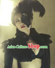 Top Grade Chinese Theatrical Luxury Headdress Ornamental Black Lace Feather Mask, Halloween Fancy Ball Ceremonial Occasions Handmade Half Face Mask for Women
