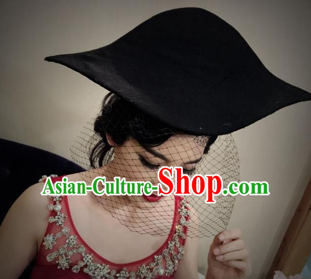 Top Grade Chinese Theatrical Luxury Headdress Ornamental Black Pirate Hat, Halloween Fancy Ball Ceremonial Occasions Handmade Sea Captain Hat for Women