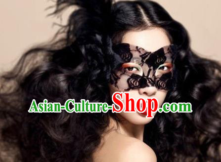 Top Grade Chinese Theatrical Luxury Headdress Ornamental Black Rose Mask, Halloween Fancy Ball Ceremonial Occasions Handmade Lace Face Veil for Women