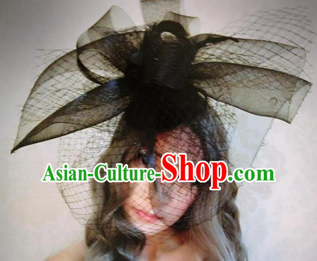 Top Grade Chinese Theatrical Luxury Headdress Ornamental Black Veil Hat, Halloween Fancy Ball Ceremonial Occasions Handmade Hair Accessories for Women