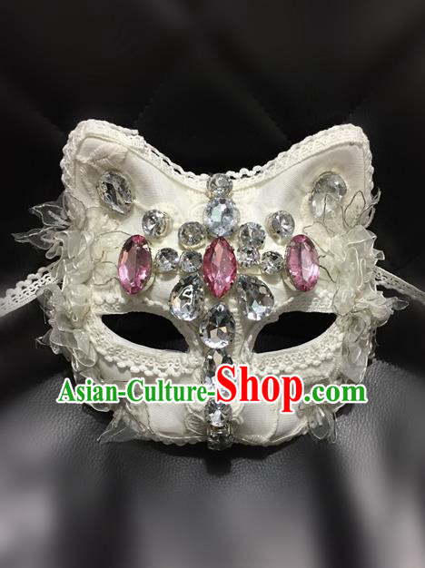 Top Grade Chinese Theatrical Luxury Headdress Ornamental White Cat Mask, Halloween Fancy Ball Ceremonial Occasions Handmade Crystal Face Mask for Men