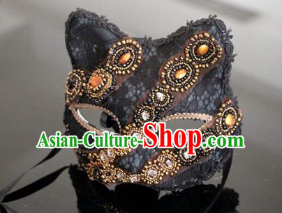Top Grade Chinese Theatrical Luxury Headdress Ornamental Black Cat Mask, Halloween Fancy Ball Ceremonial Occasions Handmade Crystal Face Mask for Men