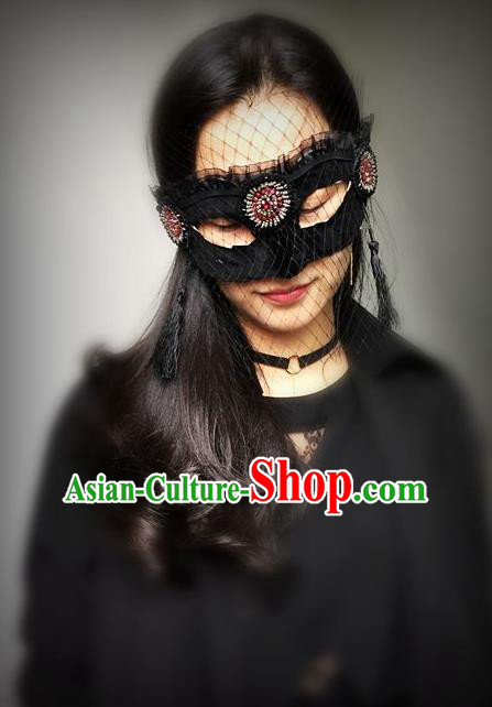 Top Grade Chinese Theatrical Luxury Headdress Ornamental Black Veil Mask, Halloween Fancy Ball Ceremonial Occasions Handmade Face Mask for Women