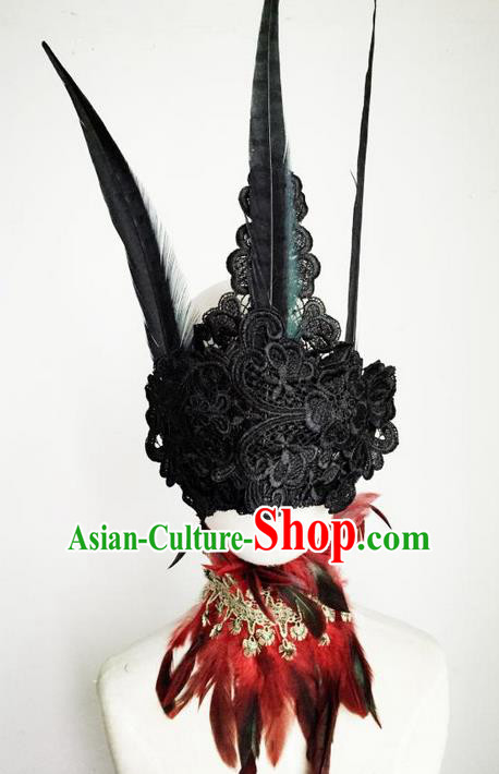 Top Grade Chinese Theatrical Luxury Headdress Ornamental Black Lace Mask Hair Accessories, Halloween Fancy Ball Ceremonial Occasions Handmade Witch Headwear for Women