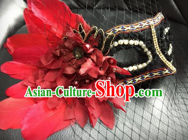 Top Grade Chinese Theatrical Luxury Headdress Ornamental Red Feather Mask, Halloween Fancy Ball Ceremonial Occasions Handmade Witch Veil Face Mask for Women
