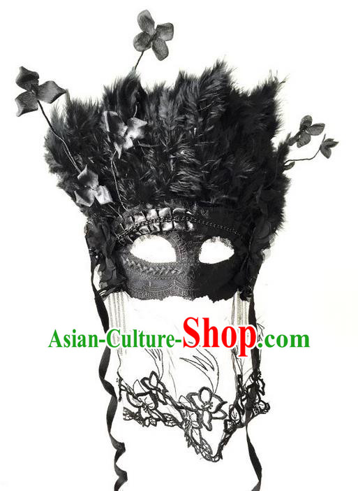 Top Grade Chinese Theatrical Luxury Headdress Ornamental Black Feather Mask, Halloween Fancy Ball Ceremonial Occasions Handmade Lace Mask Hair Accessories for Women