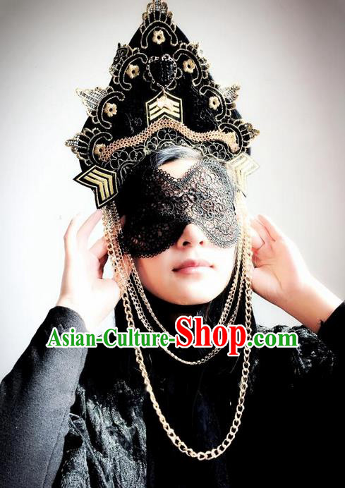 Top Grade Chinese Theatrical Luxury Headdress Ornamental Black Lace Mask and Headwear, Halloween Fancy Ball Ceremonial Occasions Handmade Mask Hair Accessories for Women