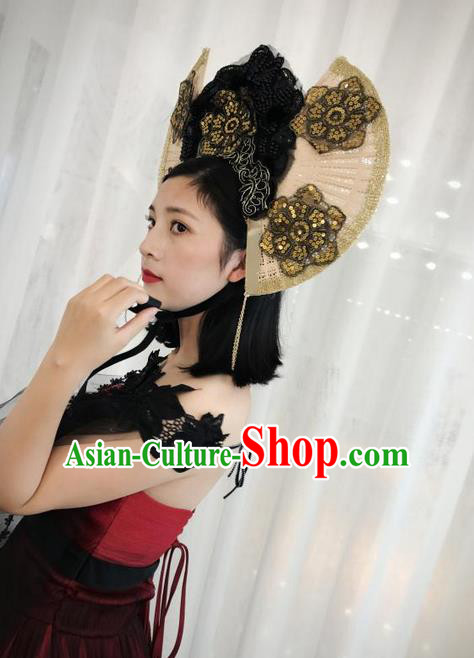 Top Grade Chinese Theatrical Luxury Headdress Ornamental Black Headwear, Halloween Fancy Ball Ceremonial Occasions Handmade Hair Accessories for Women