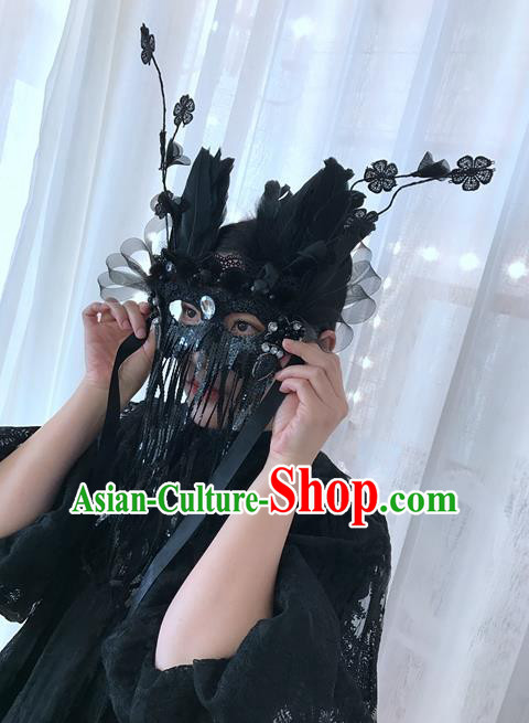 Top Grade Chinese Theatrical Luxury Headdress Ornamental Black Mask, Halloween Fancy Ball Ceremonial Occasions Handmade Feather Tassel Headwear for Women