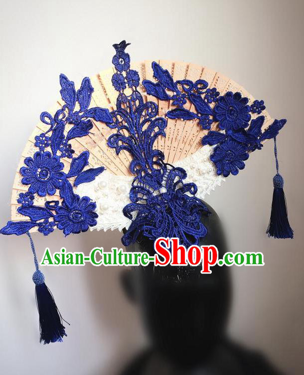 Top Grade Chinese Theatrical Headdress Ornamental Asian Headpiece Blue Flowers Floral, Halloween Fancy Ball Ceremonial Occasions Handmade Manchu Headwear for Women