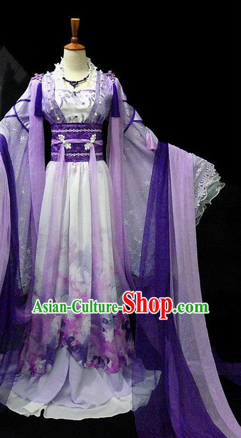 Traditional Ancient Chinese Young Lady Fairy Purple Costume, Chinese Han Dynasty Princess Embroidered Dress Clothing for Women