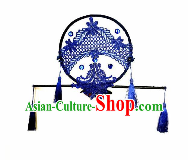 Top Grade Chinese Theatrical Headdress Ornamental Asian Headpiece Blue Fanshaped Flowers Floral, Halloween Fancy Ball Ceremonial Occasions Handmade Manchu Headwear for Women