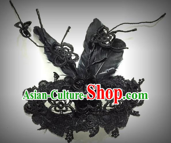 Top Grade Chinese Theatrical Traditional Ornamental Mask, Brazilian Carnival Halloween Occasions Handmade Vintage Black Lace Mask for Women