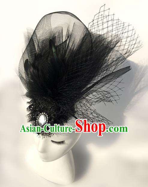 Top Grade Chinese Theatrical Headdress Traditional Ornamental Black Veil Headwear, Brazilian Carnival Halloween Occasions Handmade Vintage Queen Hair Clasp for Women