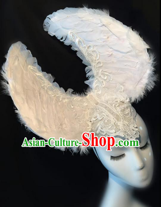 Top Grade Chinese Theatrical Headdress Traditional Ornamental White Feather Headwear, Brazilian Carnival Halloween Occasions Handmade Deluxe Headpiece for Women