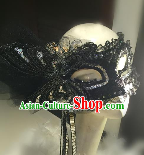 Top Grade Chinese Theatrical Headdress Traditional Ornamental Black Lace Mask, Brazilian Carnival Halloween Occasions Handmade Deluxe Butterfly Mask for Women