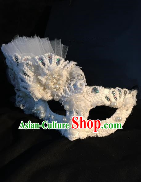 Top Grade Chinese Theatrical Headdress Traditional Ornamental Pearl Mask, Brazilian Carnival Halloween Occasions Handmade Deluxe Lace Mask for Women