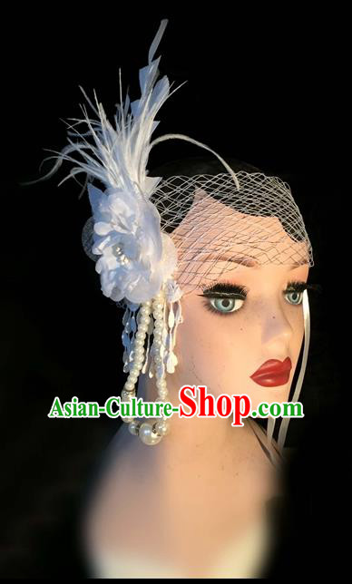 Top Grade Chinese Theatrical Headdress Traditional Ornamental White Feather Headband, Brazilian Carnival Halloween Occasions Handmade Veil Pearl Hair Clasp for Women