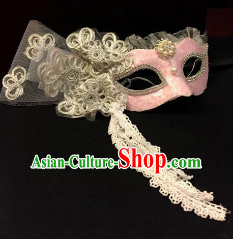 Top Grade Chinese Theatrical Headdress Traditional Ornamental Lace Mask, Brazilian Carnival Halloween Occasions Handmade Miami Pink Mask for Women