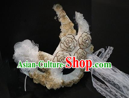 Top Grade Chinese Theatrical Headdress Traditional Ornamental Princess Lace Mask, Brazilian Carnival Halloween Occasions Handmade Miami White Mask for Women