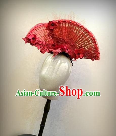 Top Grade Chinese Theatrical Headdress Traditional Ornamental Manchu Princess Red Fan Hair Accessories, Asian Traditional Halloween Occasions Handmade Headwear for Women