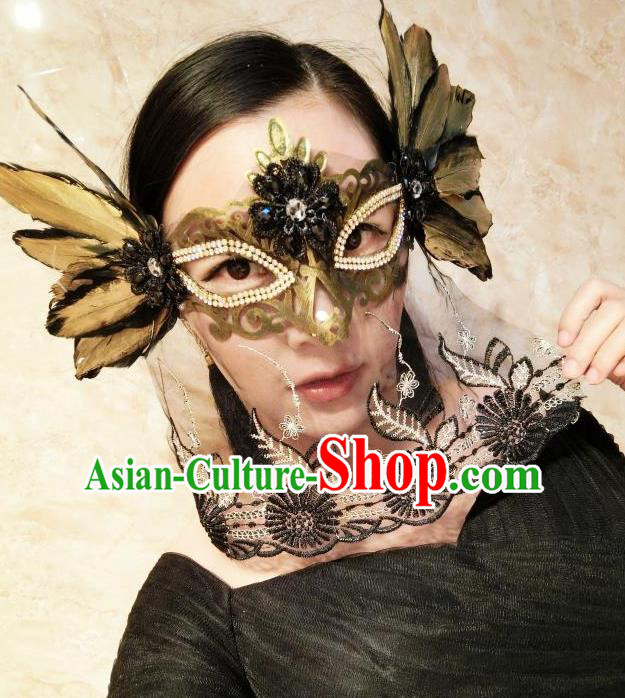 Top Grade Chinese Theatrical Headdress Traditional Ornamental Feather Veil Mask, Brazilian Carnival Halloween Occasions Handmade Bride Black Mask for Women