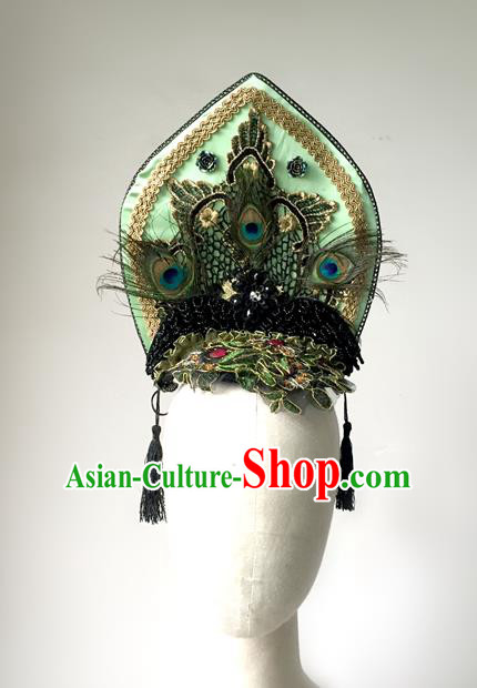Top Grade Chinese Theatrical Headdress Traditional Ornamental Gothic Green Feather Hair Accessories, Brazilian Carnival Halloween Occasions Handmade Queen Headwear for Women