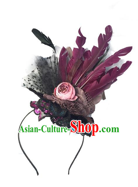 Top Grade Chinese Theatrical Headdress Ornamental Feather Hair Clasp, Asian Traditional Halloween Occasions Handmade Headwear for Women