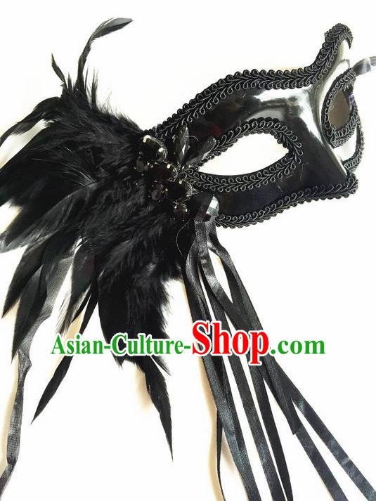 Top Grade Chinese Theatrical Headdress Ornamental Black Feather Mask, Asian Traditional Halloween Occasions Handmade Debutante Lace Mask for Women