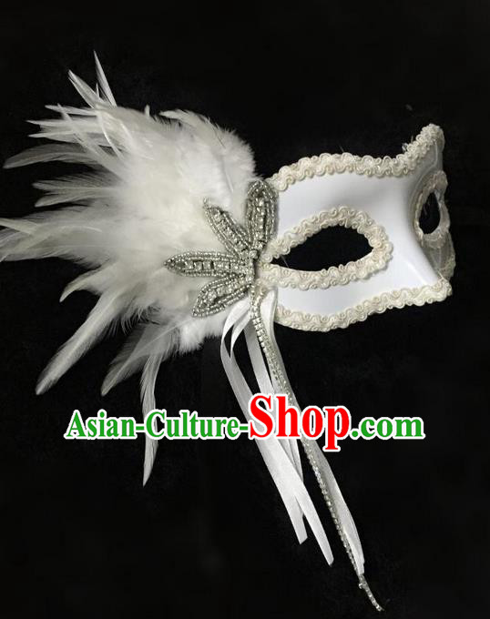 Top Grade Chinese Theatrical Headdress Ornamental White Feather Mask, Asian Traditional Halloween Occasions Handmade Debutante Lace Mask for Women