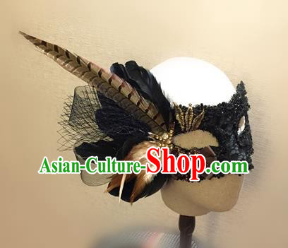 Top Grade Chinese Theatrical Headdress Traditional Ornamental Feather Mask, Brazilian Carnival Halloween Occasions Handmade Vintage Black Lace Mask for Men