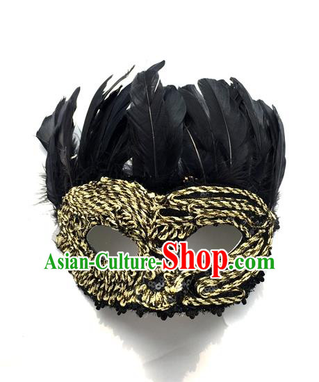 Top Grade Chinese Theatrical Headdress Traditional Ornamental Feather Mask, Brazilian Carnival Halloween Occasions Handmade Vintage Golden Mask for Men