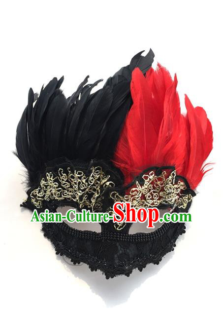 Top Grade Chinese Theatrical Headdress Traditional Ornamental Feather Mask, Brazilian Carnival Halloween Occasions Handmade Vintage Black Mask for Men