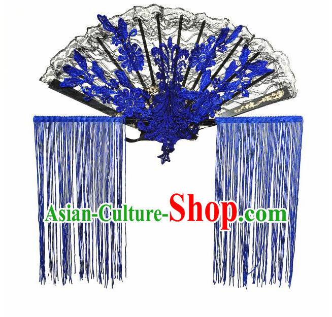 Top Grade Chinese Theatrical Headdress Ornamental Asian Headpiece Blue Fanshaped Floral Hair Accessories, Halloween Fancy Ball Ceremonial Occasions Handmade Tassel Headwear for Women