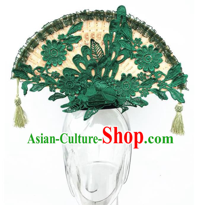 Top Grade Chinese Theatrical Headdress Ornamental Asian Green Lace Fanshaped Floral Hair Accessories, Halloween Fancy Ball Ceremonial Occasions Handmade Headwear for Women