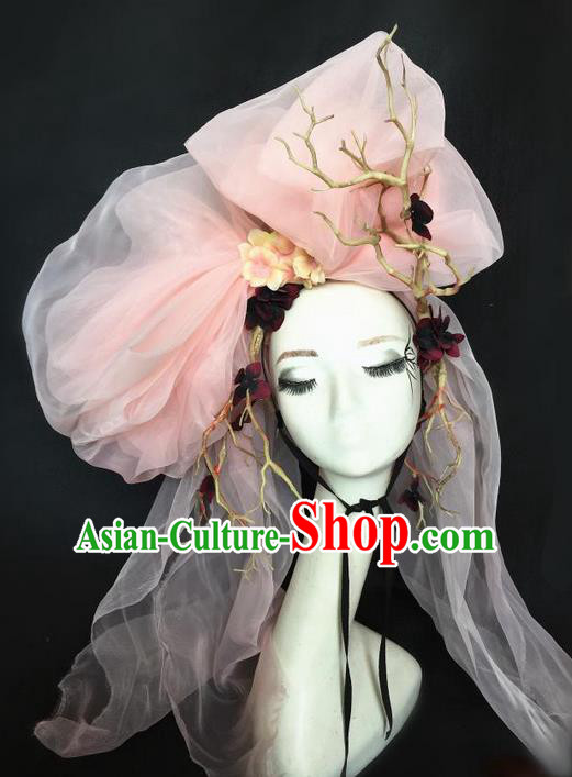 Top Grade Chinese Theatrical Headdress Ornamental Exaggerated Modelling Hair Accessories, Halloween Fancy Ball Ceremonial Occasions Handmade Headwear for Women