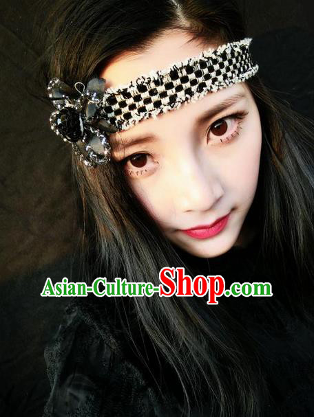 Top Grade Chinese Theatrical Traditional Ornamental Black Hair Clasp, Brazilian Carnival Halloween Occasions Handmade Bride Vintage Headband for Women