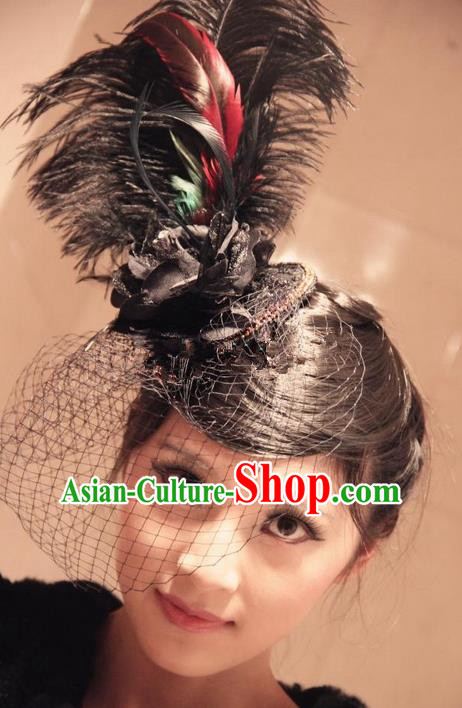 Top Grade Chinese Theatrical Traditional Ornamental Exaggerated Ostrich Feather Hair Accessories, Brazilian Carnival Halloween Occasions Handmade Veil Headwear for Women