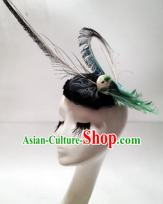 Top Grade Chinese Theatrical Traditional Ornamental Feather Hair Accessories, Brazilian Carnival Halloween Occasions Handmade Top Hat for Women