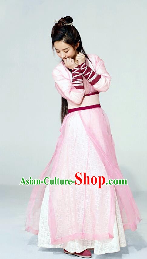 Traditional Ancient Chinese Swordswoman Costume and Headpiece Complete Set, Princess Agents Chinese Southern and Northern Fairy Young Lady Dress Clothing