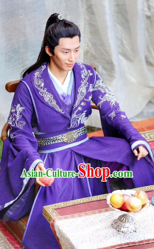 Traditional Ancient Chinese Prince Costume and Headpiece Complete Set, Princess Agents Chinese Southern and Northern Thronfolger Embroidered Robe Clothing