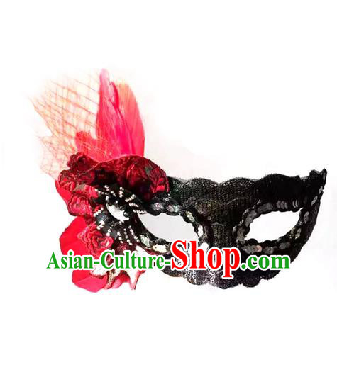 Top Grade Chinese Theatrical Headdress Ornamental Red Feather Mask, Brazilian Carnival Halloween Occasions Handmade Miami Debutante Black Mask for Women