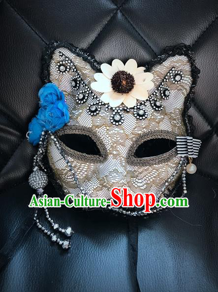 Top Grade Chinese Theatrical Headdress Ornamental Masquerade Mask, Brazilian Carnival Halloween Occasions Handmade Miami Debutante Flower Lace Mask for Women