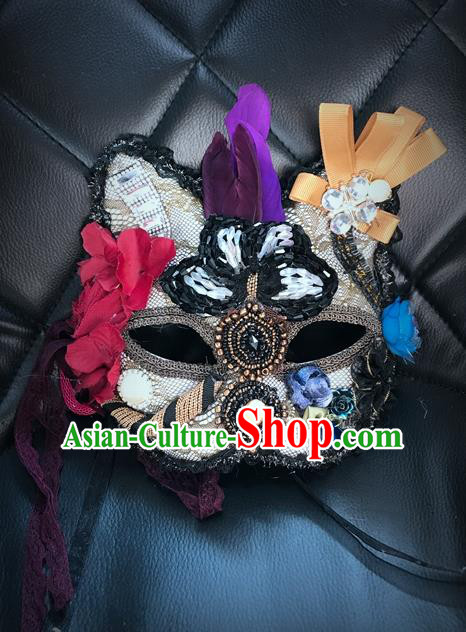 Top Grade Chinese Theatrical Headdress Ornamental Masquerade Mask, Brazilian Carnival Halloween Occasions Handmade Miami Debutante Flower Cat Mask for Women