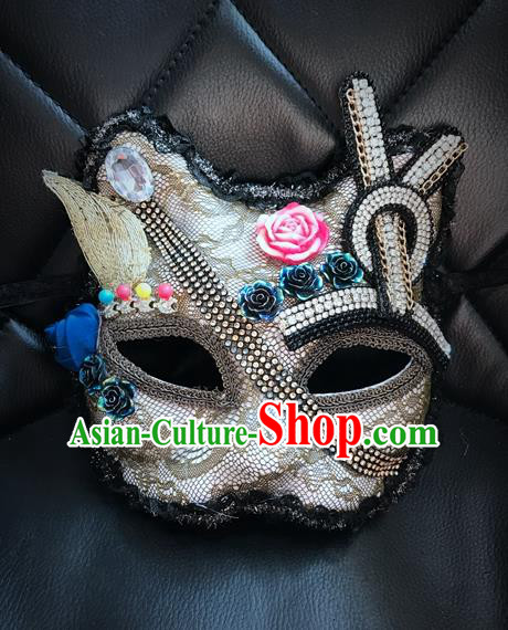 Top Grade Chinese Theatrical Headdress Ornamental Masquerade Mask, Brazilian Carnival Halloween Occasions Handmade Miami Debutante Crystal Cat Mask for Women